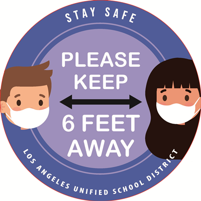 (Floor Decal) Please Keep 6 Feet Away - Elementary School