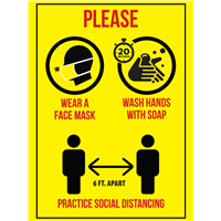 BATHROOM SIGN - Wear Mask / Wash Hands / Distance STICKER MWS-STK-2