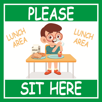 "(Sticker) Green Lunch Please Sit Here Sticker (9""x9"")"
