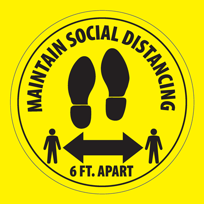 (Floor Decal) 6 Feet Apart Maintain Social Distance