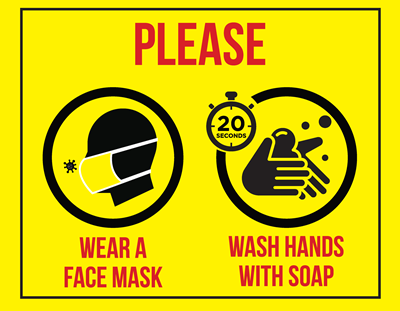 (Wall Decal) Please Wear a Face Mask / Wash Hands