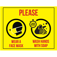 BATHROOM SIGN - Wear Mask / Wash Hands MW-STK-1